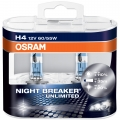 Set 2 Becuri Osram H4 Night Breaker Unlimited, up to 110%, 12V, 55W 64193NBU DUO